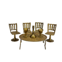 Miniature Brass Table Chairs Goblets Candle Holder Dollhouse Furniture
