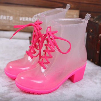 Women Rubber Rain Boots 11 Candy Colors High Heels Mid-Calf Rubber Rainboots Lace-Up Water Shoes