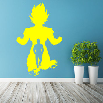 Vinyl Wall Decal Dragon Ball Z, GT / Super Saiyan Goku DBZ Sticker / Kakarot Silhouette Vegeta Battle Decals + Free Random Decal