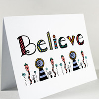 Believe Motivational Encouragement Card. Support. Illustrated Lettering Believe with Flowers.