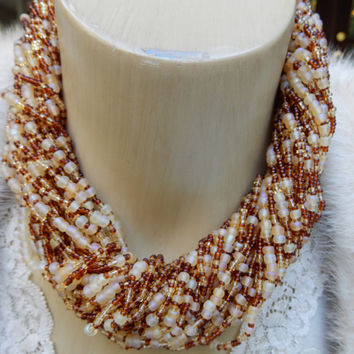 Long Torsade, Joan Rivers Necklace, Multi Strand Amber Beads, Bold Statement Necklace, Couture Torsade