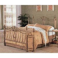 Queen size Metal Bed with Headboard and Footboard in Antique Brushed Gold Finish