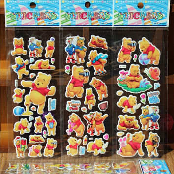 5pcs/lot Fashion Brand Kids Toys Cartoon Vigny Bear Tiger 3D Stickers Children girls boys PVC Stickers Bubble Stickers toy GYH
