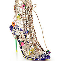 Sophia Webster - Delphine Fruit-Appliquéd Metallic Leather Cage Sandals - Saks Fifth Avenue Mobile