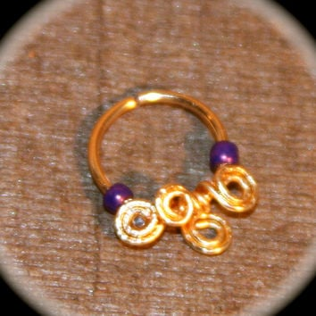 Small Nose Ring,  Swirls Four Winds Plum Cartilage Ring, Nose Hoop, Helix Hoop, Nose Rings, Septum Hoop Piercing Jewelry