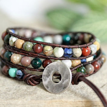 Colorful Boho Leather 3 Wrap Bracelet, Gemstone, Semi Precious, Earthy Bracelet, Leather Jewelry, Beaded Bracelet, Bohemian Hippie Bracelet