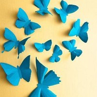3D Wall Butterflies 10 Turquoise Blue Butterfly by hipandclavicle