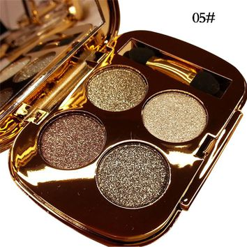 Professional Eye Makeup 4 Colors Eyeshadow Palette Gold Smoky Cosmetics Makeup Palette Diamond Bright Glitter Eye Shadow