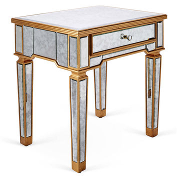 Tabitha Antiqued  Nightstand, Gold, Nightstands