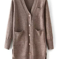 Coffee Long Sleeve V Neck Elbow Patch Pockets Knit Cardigan
