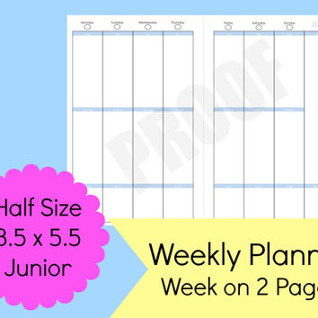 Weekly Planner Printable, Half Size Planner, 5.5 x 8.5 Planner Printables, Printable Planner Half Size