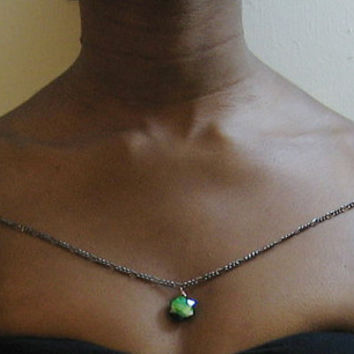 Black chain shoulder necklace with pendant