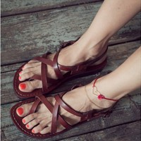 leather sandals, Shoes, Women's Shoes, Sandals, Gladiator & Strappy Sandals, Jerusalem sandals, Women sandals, Sandals, brown leather sandal