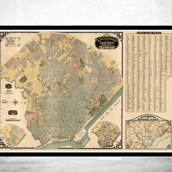 Buenos Aires Great Old Map, Argentina 1920 Vintage map of Buenos Aires