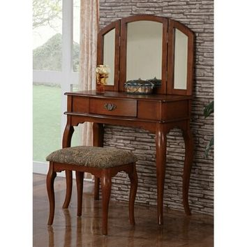 A.M.B. Furniture & Design :: Bedroom furniture :: Vanity Sets :: 3 pc Walnut brown finish wood make up bedroom vanity set with curved legs stool and tri fold mirror