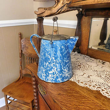 1800s Graniteware Coffee Pot Boiler Antique Enamelware Blue White Swirl Cottage Chic Farmhouse Country Camping Cookware Cooking Granite Ware