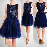 Affordable Short Sequin Navy Bridesmaid dress with Tulle Party Dress Prom Evening Homecoming
