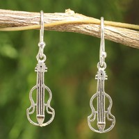 Sterling silver dangle earrings, 'Thai Violin'