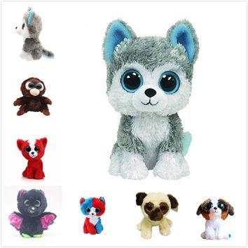 Ty Beanie Boos Gray Dog Plush Toy Doll Baby Girl Birthday Gift Stuffed & Plush Animals 15cm Cute Big Eyes Christmas Girlfriend