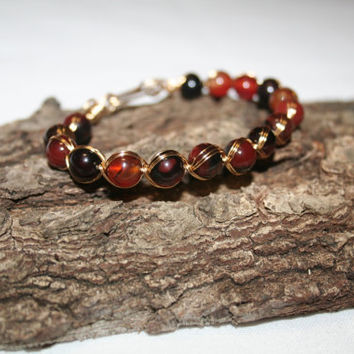 Carnelian Gemstone Wire Wrapped Unisex Bracelet - Artisic Wire Bracelet - Wire Wrapped Jewelry - Wire Wrapped Stone Bracelet