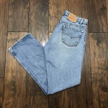 Vintage Levi Strauss Levis Light Wash Blue Denim Jeans Made in USA Mens W34 L32