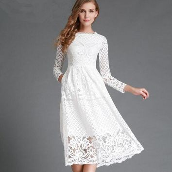 PEAPGB2 black white lace white dress 2016 spring new arrival long sleeve bohemian midi dresses hollow out vestidos plus size xxl clothes