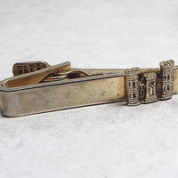 Vintage Castle Tie Clip Gold Tone Mens Mid Century Hipster Gamer Guys Gift