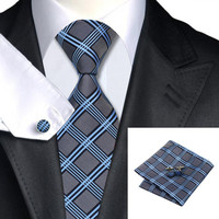 Stripe And Plaid Silk Necktie Set For Men