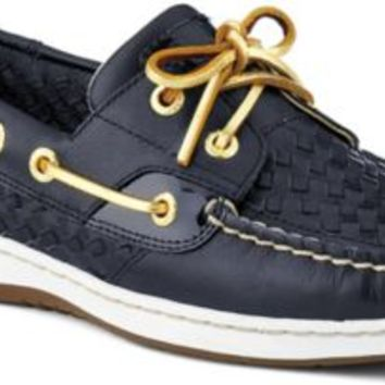 Sperry Top-Sider Bluefish Woven 2-Eye Boat Shoe BlackWovenLeather, Size 10M  Women's Shoes