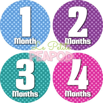 Monthy Baby Shirt Stickers - Pink Blue Purple Green Laila Design  - Girl Monthly Baby Stickers