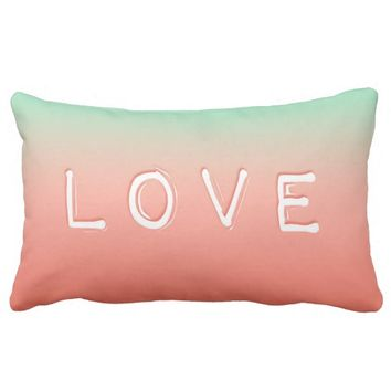 Love Coral & Mint Ombre Lumbar Pillow