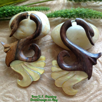 "Fake Gauge Earrings, ""Dancing Swan"" Hand Carved, Sono Wood, Mother of Pearl, Naturally Organic"