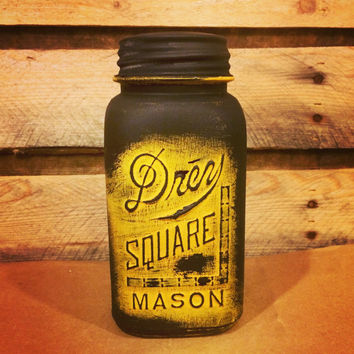 Vintage Drey Square Mason Jar Quart, Yellow and Black Mason Jar, Carpenter Gift, Carpenters Square Mason Jar, Teacher Gift