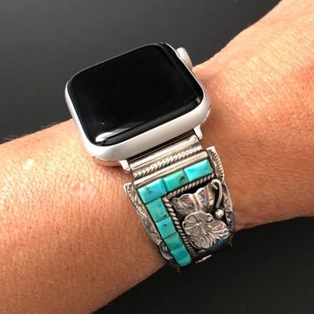 Apple Watch Band Native American Turquoise 38/40mm 42/44mm Vintage Ray Scott Navajo Silver Silver Watch Tips Custom Leather Band  S1 2 3 4