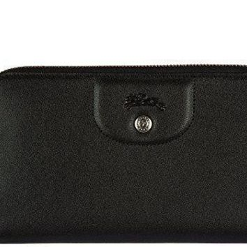 Longchamp Women's Wallet Leather Coin Case Holder Purse Card Bifold Black
