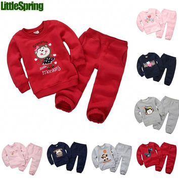 Autumn&spring Children clothing Sets Baby boys Sets Kids tracksuits cotton dinosaur/monkey/bear/horse sweatshirts/coats+trousers