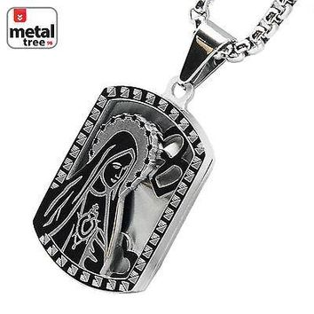 "Jewelry Kay style Men's Stainless Steel Dog Tag Virgin Mary Pendant 24"" Chain Necklace SCP 149 S"
