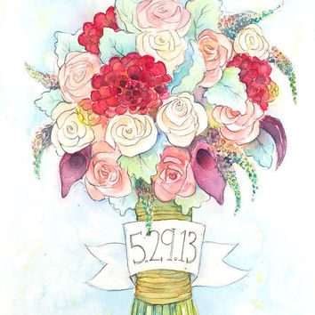 Gift From Groom to Bride - Custom Wedding Bouquet Painting - Unique Bridal Shower Gift - First Anniversary Paper - Original Watercolor