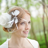 Bridal headpiece, wedding hair accessories, fascinator with a rose in ivory silk organza with cocks feathers, made by noni - mode