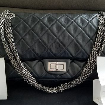 Authentic CHANEL Black Distressed Leather Double Flap Quilted Bag