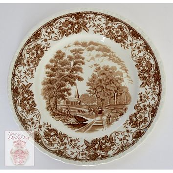 Brown & White Vintage Transferware Plate - Farmer Horse & Cart English Countryside Pastoral Scene