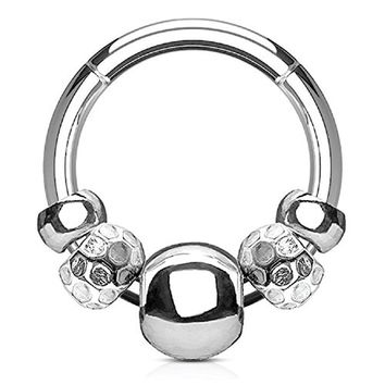 BodyJ4You 16G (1.2mm) Nose Hoop Seamless Hinged Segment Ring Disco Beads Surgical Steel Septum