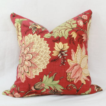 "Red, green & yellow floral decorative throw pillow cover. 18"" x 18"". 20"" x 20"". 22"" x 22"". 24"" x 24"". lumbar sizes"
