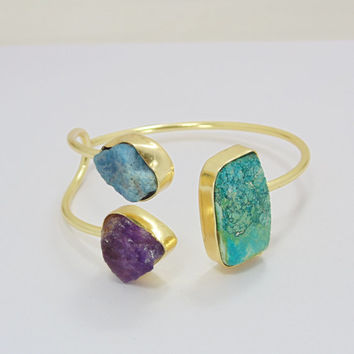 Amethyst Bangle - Raw Stone Bangle - Bezel Set Bangle - Gold Vermeil Bangle - Apatite Bangle - Adjustable Bangle - Women Bangle