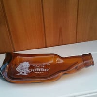 Vintage novelty melted glass beer bottle/spoon rest/slump glass bottle /1970/ships worldwide from UK