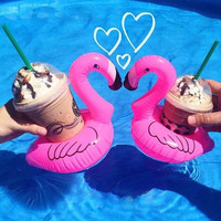 1pc Mini Cute flamingo floating inflatable drink Coke Can holder for Pool Bath Kid Toy Gifts