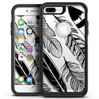 Vector Black and White Feathers - iPhone 7 or 7 Plus Commuter Case Skin Kit