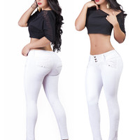 Sexy White Push Up Skinny Jeans