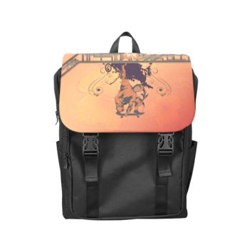 Skadeboarder With Floral Elements Back Pack Casual Shoulders Backpack