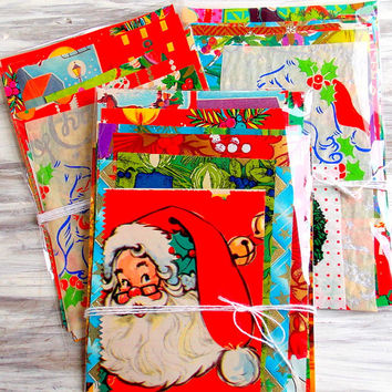 Vintage Christmas Wrap Paper Pack / Daily Planner / Junk Journal / December / Gift Tags / Christmas Ephemera Pack